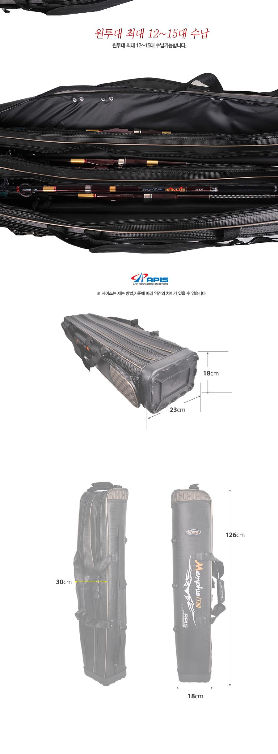 민물가방 민물낚시가방 릴낚시가방 민물릴낚시가방 민물낚시용품 낚시용품 낚시가방 장대가방 아피스로드가방 로드가방 멤피스 m3 1250 장 5단가방 APBM-SF1250