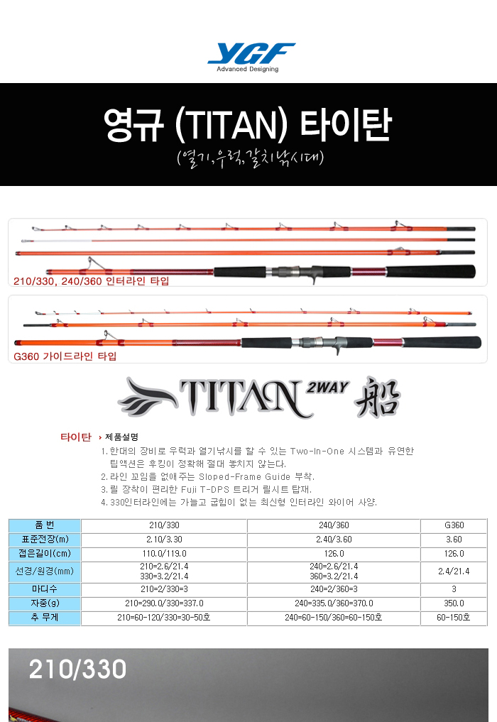 영규 (TITAN) 타이탄 (열기,우럭,갈치낚시대) 열기외줄낚시 심해우럭 칼치선상 선상갈치 심해갈치