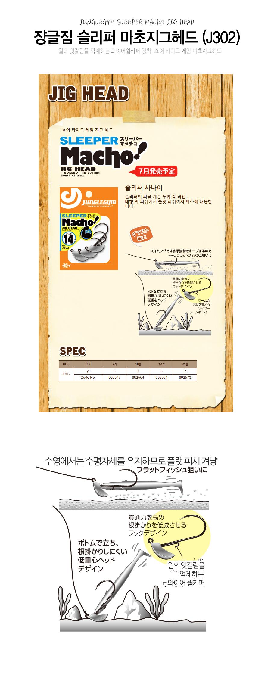 쟝글짐 슬리퍼 마초지그헤드 (J302) SLEEPER MACHO JIG HEAD 쇼어 라이트 게임 마쵸지그헤드