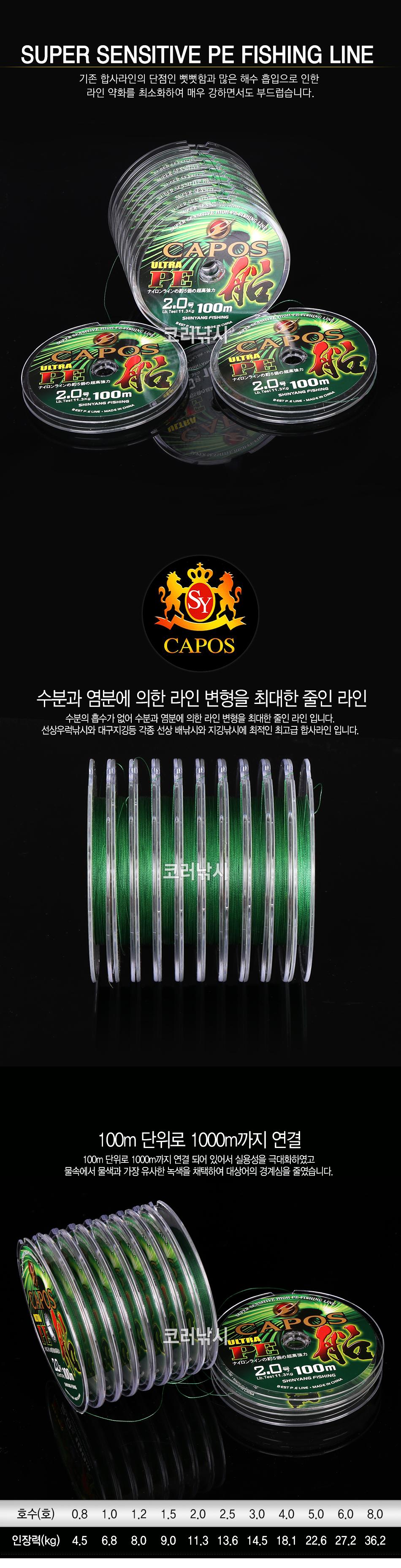 카포스 울트라 PE 선 연결합사100m 그린 우럭합사 선상합사 칼치합사 루어합사 벌크합사