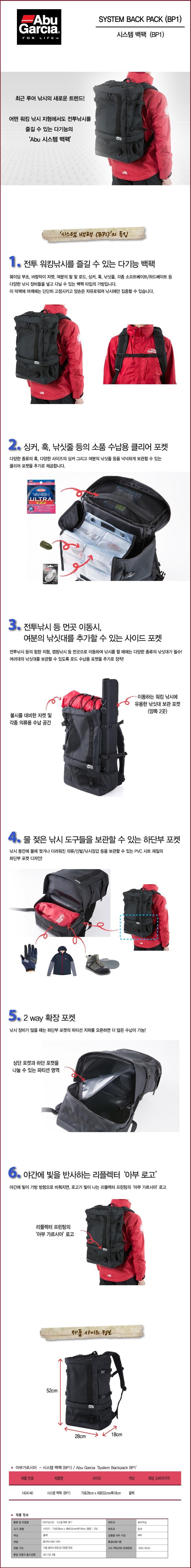 아부가르시아 시스템 백팩 (17) BP1 루어낚시보조가방 루어보조가방