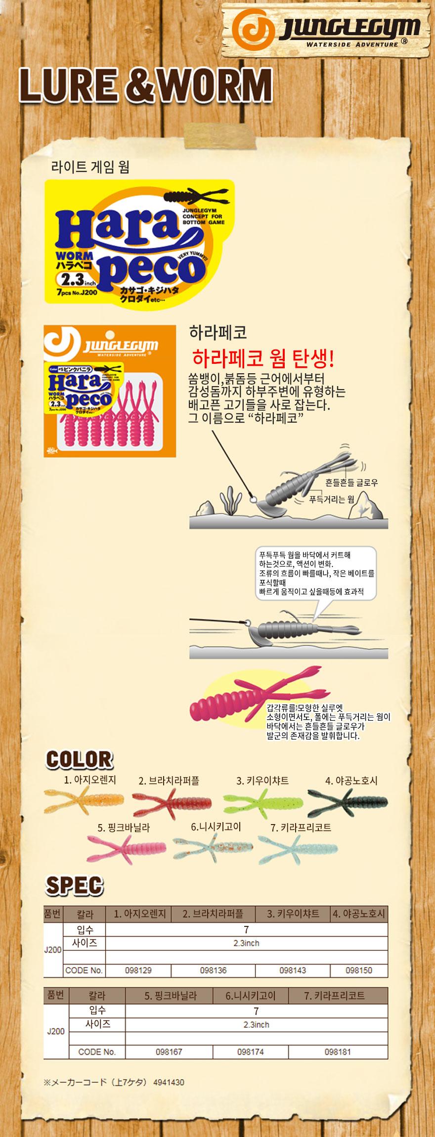 쟝글짐 하라페코웜 (J-200) 하드락피싱 하드락웜 락피쉬웜 하드락소프트베이트