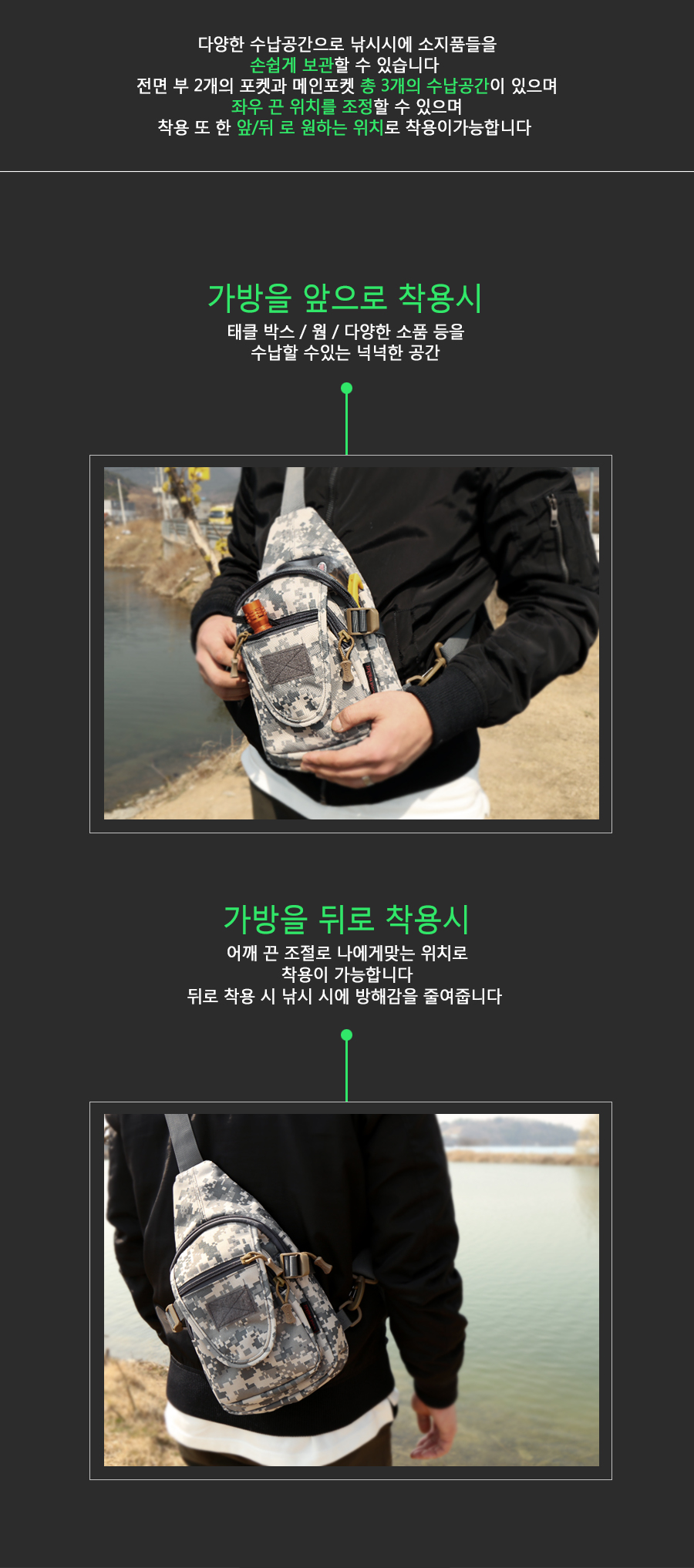 KLF 밀리터리 [슬링백] 루어보조가방 (6008)  루어가방 소품가방 힙쌕 사이드팩 루어사이드팩 루어허리가방 허리가방 슬링백 크로스백 숄더백