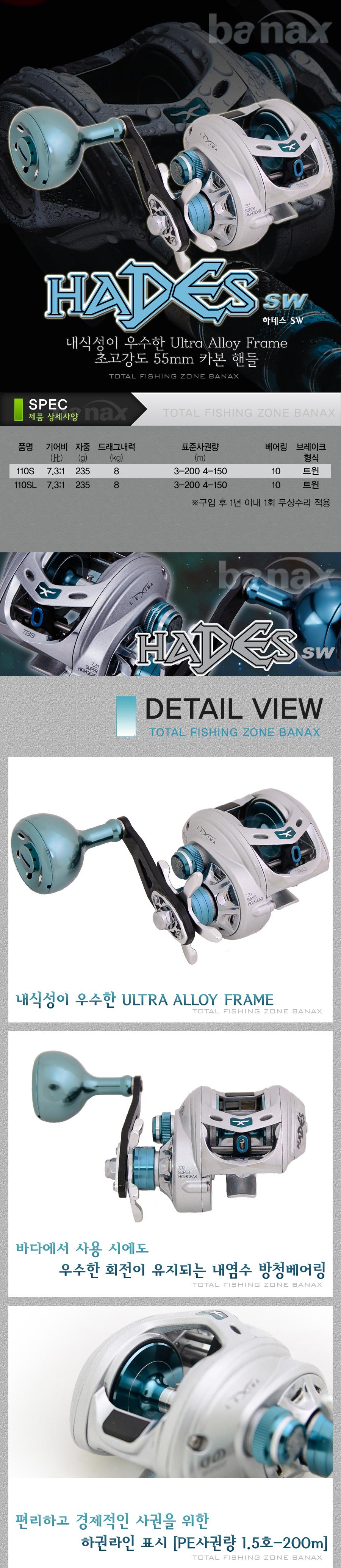 바낙스 하데스 SW (HADES SW) (라이트지깅용베이트릴)[드랙력 8kg] 참돔타이라바 문어선상 광어다운샷 쭈꾸미