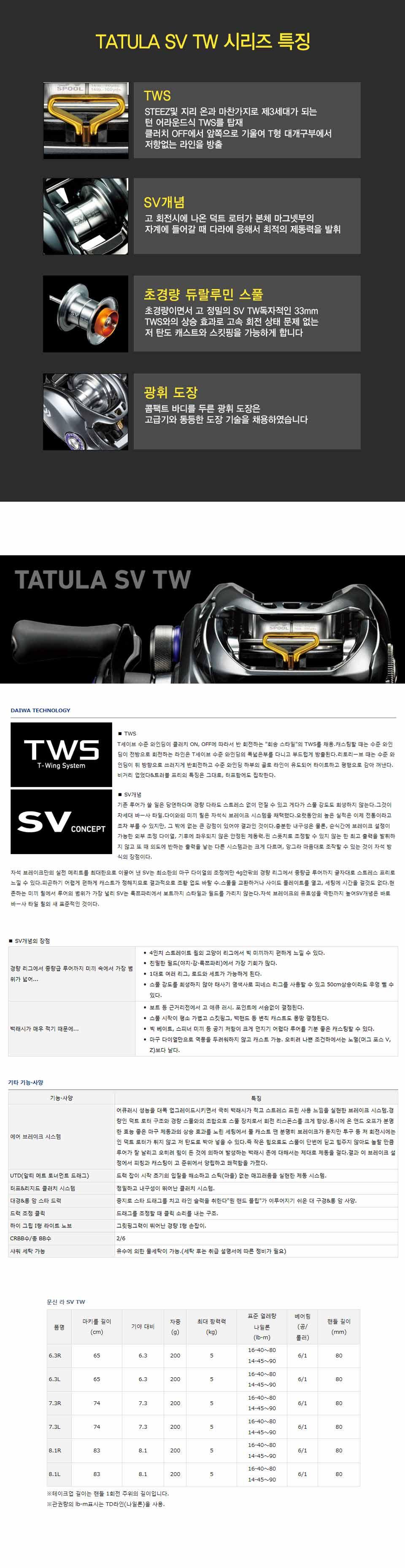 다이와 타튤라 SV TW [한국다이와정품] 타툴라 tatula