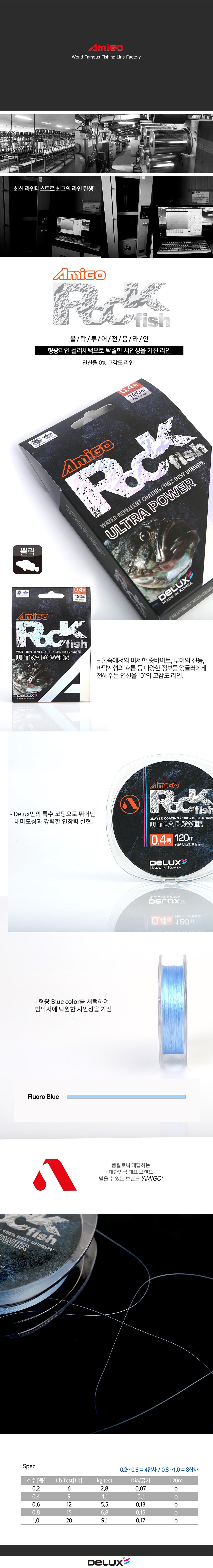 아미고 Rock fish 120m (락피쉬용합사)-블루 볼락합사 우럭합사 열기 황점볼락 놀래미 노래미 락피쉬합사 락피쉬PE 하드락합사 하드락피싱
