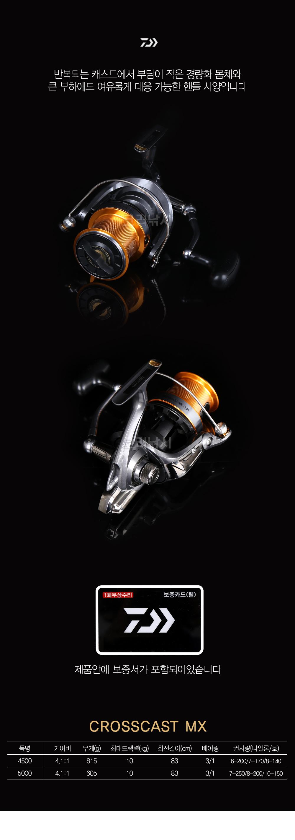 다이와 신형 크로스캐스트 MX (18) (보조스플포함)[한국다이와정품] 다이와 신형 크로스캐스트 MX 크로캐스터 크로스캐스터 원투 원투릴 원투낚시 다이와릴 다이와크로스캐스트 훌치기