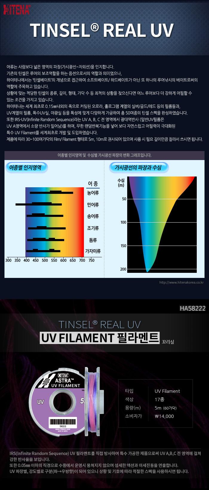하이테나 틴셀리얼 UV 필라멘트 5m (HA58222) 훅튜닝 바늘튜닝 지깅 파핑 지깅낚시 파핑낚시 부시리지깅