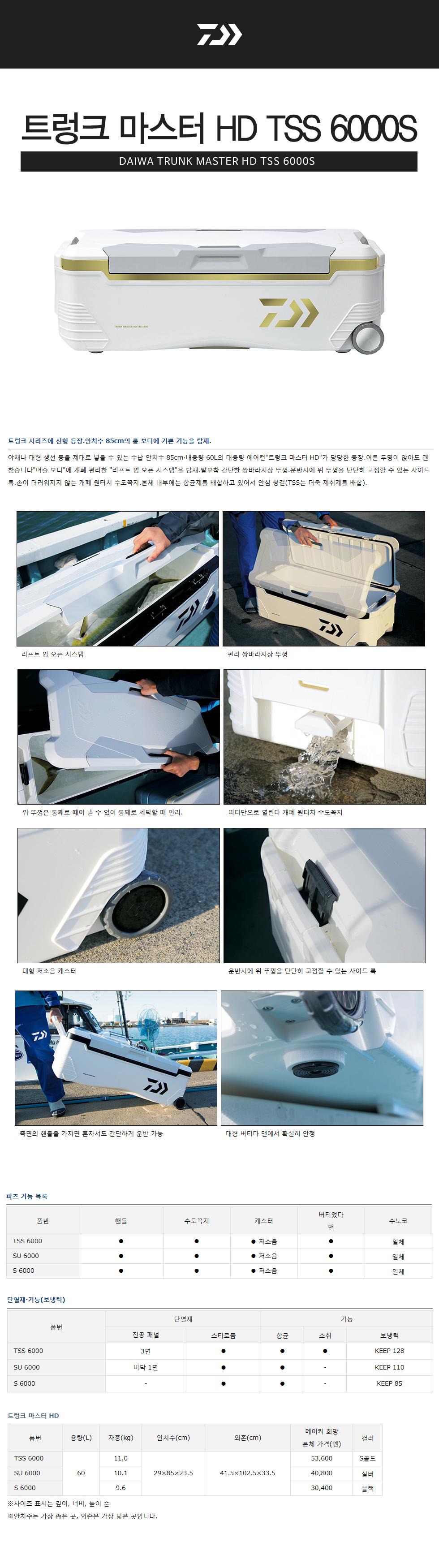 다이와 트렁크 마스터 HD TSS 6000 S 골드 (대장쿨러) 다이와 트렁크 마스터 HD TSS 6000 S 골드 대장쿨러 갈치쿨러 갈치 아이스박스 대형아이스박스