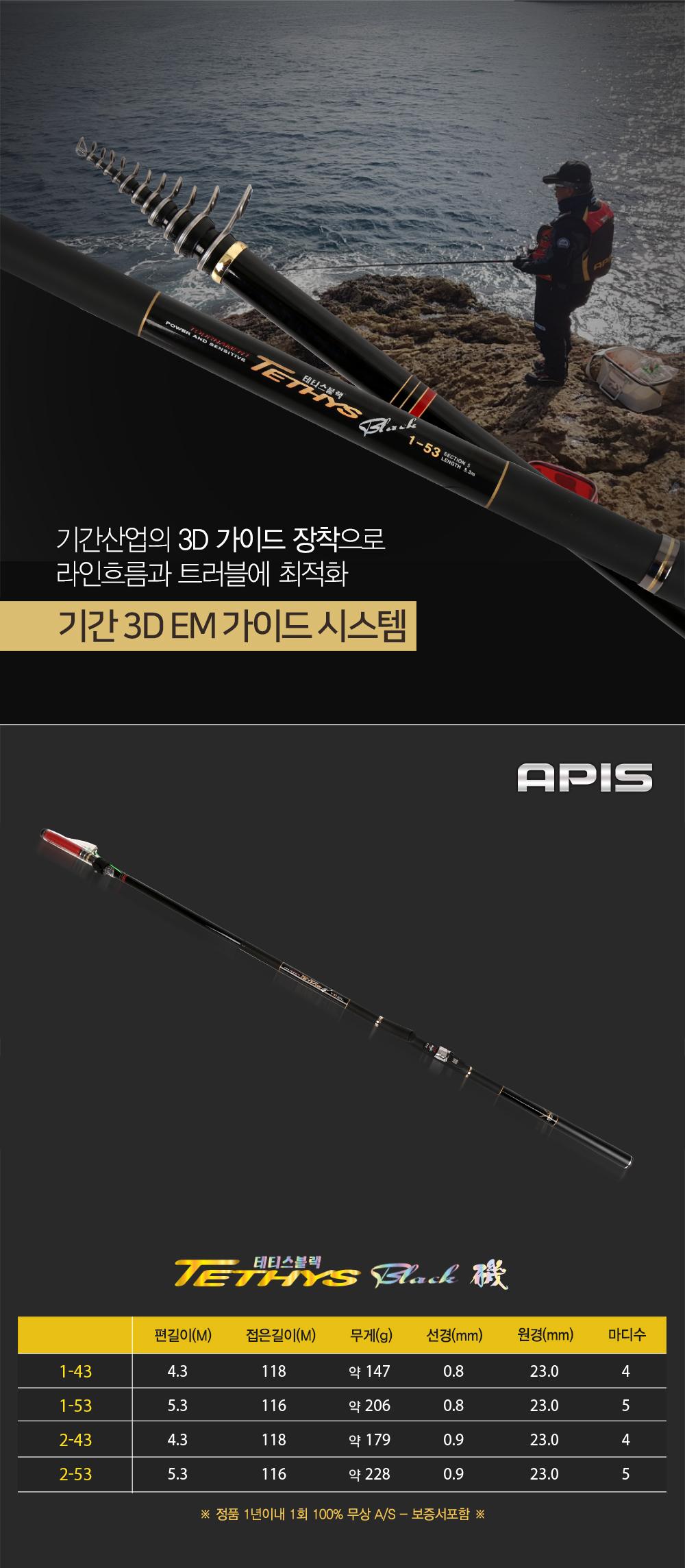 아피스 테티스 블랙 기-3D EM가이드 / MADE IN KOREA 1년1회 100% 무상보증 낚시용품 낚시용품사이트 낚시용품쇼핑몰 갯바위대 감성돔릴대 릴낚시대 바다낚시대 바낚 바다릴대 바다릴 낚시대 감성돔 벵에돔 찌낚시 찌낚시대 참돔 참돔낚시대바다대 바다대