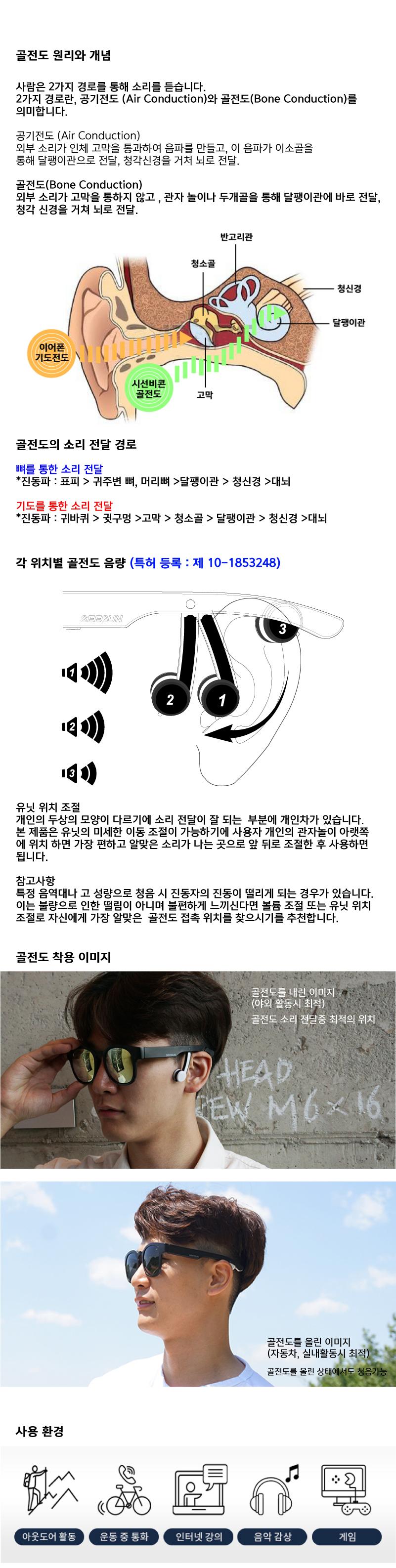 시선 BCON-10 블루투스 골전도 스마트 선글라스 스모그편광렌즈 MADE IN KOREA