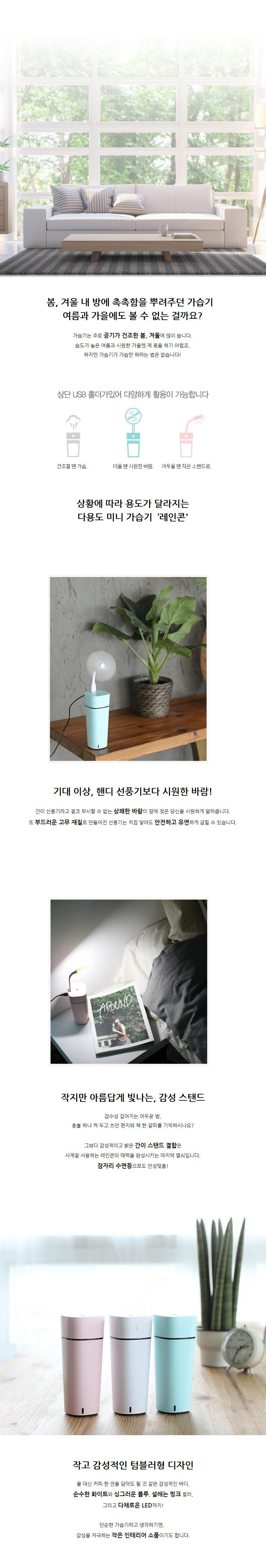 엔보우 레인콘 탁상용/차량용 미니가습기 가습기